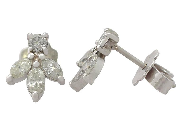 0.70 ct Diamond and 18k White Gold Stud Earrings 3