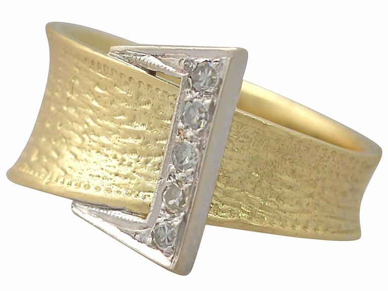 1940s Diamond and Yellow Gold Cocktail Ring 4