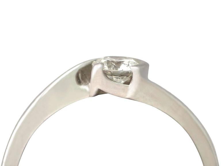 0.37 Carat Diamond and 18k White Gold Solitaire Ring 2