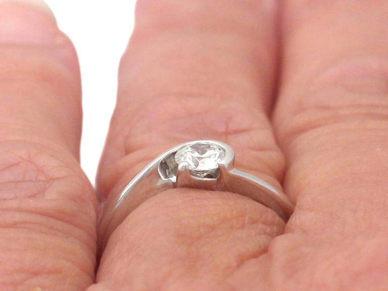 0.37 Carat Diamond and 18k White Gold Solitaire Ring For Sale 4