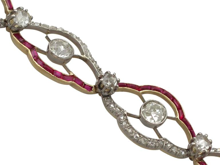 1910s Ruby and 4.31 Carat Diamond, Yellow Gold Bracelet 2