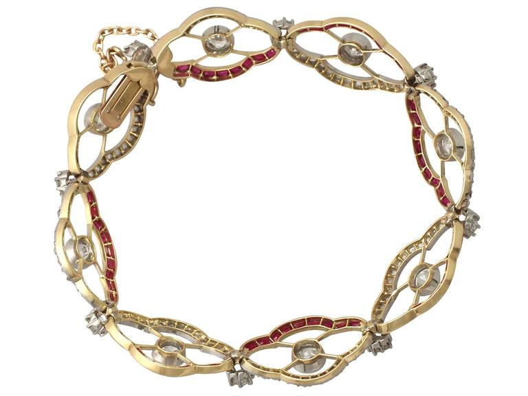 1910s Ruby and 4.31 Carat Diamond, Yellow Gold Bracelet 5