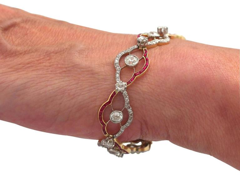 1910s Ruby and 4.31 Carat Diamond, Yellow Gold Bracelet 8