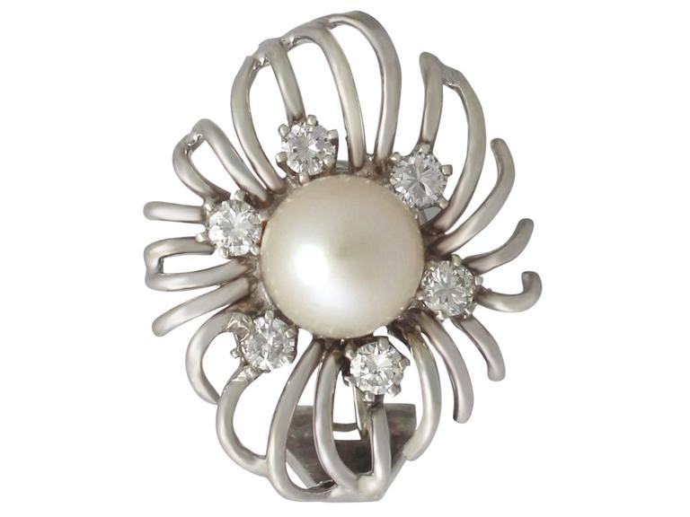 Cultured Pearl and 0.84Ct Diamond, 18k White Gold Stud Earrings - Vintage 2