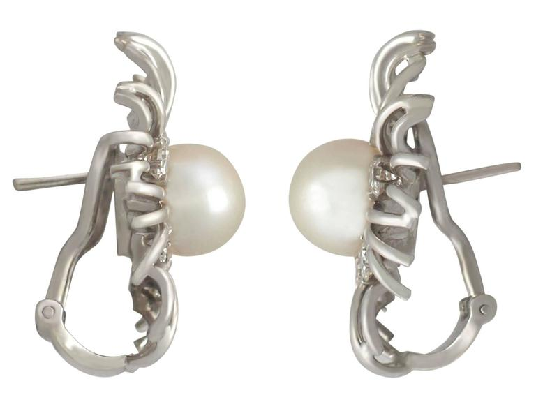 Women's Cultured Pearl and 0.84Ct Diamond, 18k White Gold Stud Earrings - Vintage For Sale
