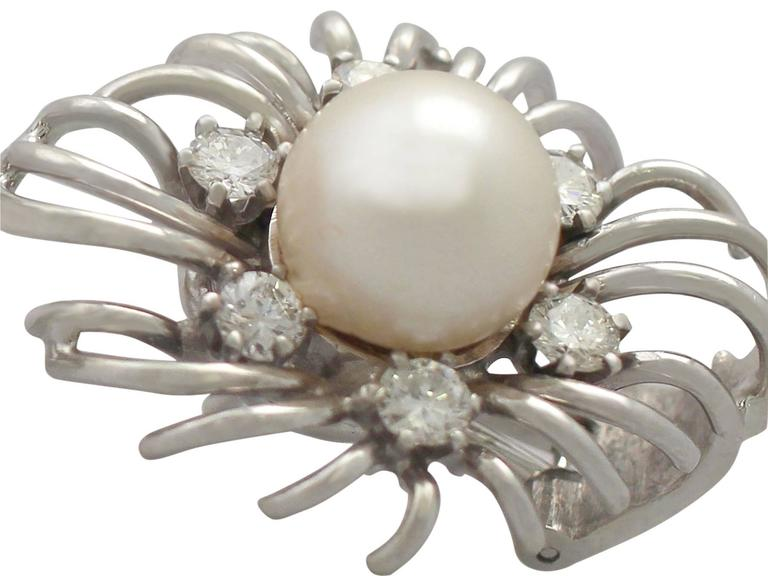 Cultured Pearl and 0.84Ct Diamond, 18k White Gold Stud Earrings - Vintage 6
