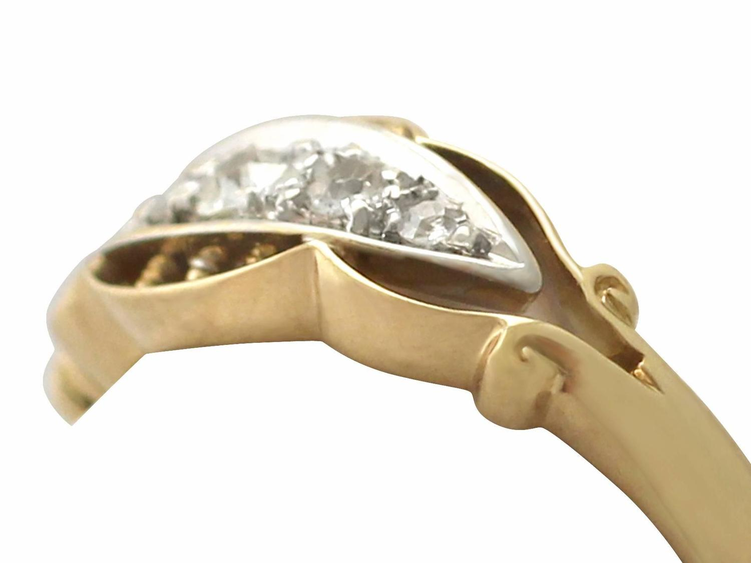 0 13ct and 18k yellow gold dress ring antique