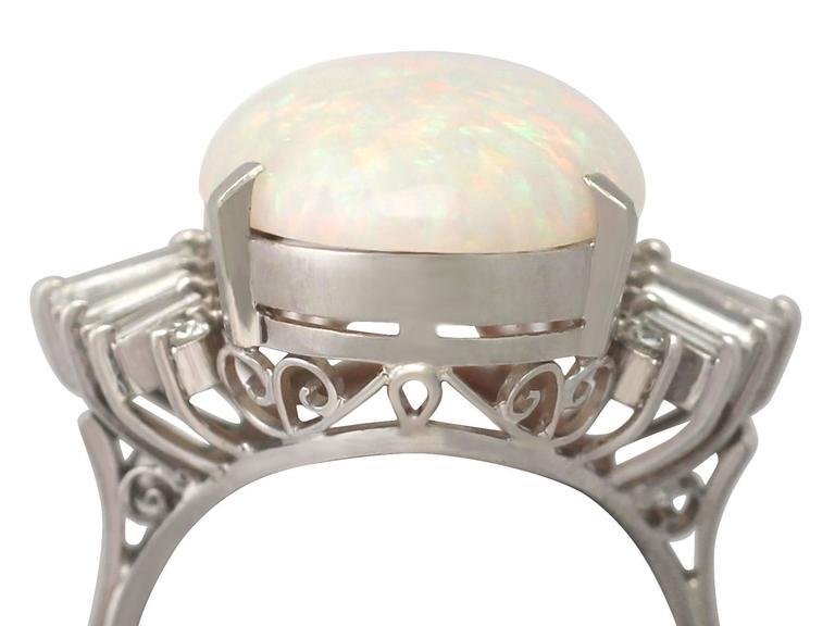 1960s 7.39 Carat Opal & Diamond Platinum Cocktail Ring 2