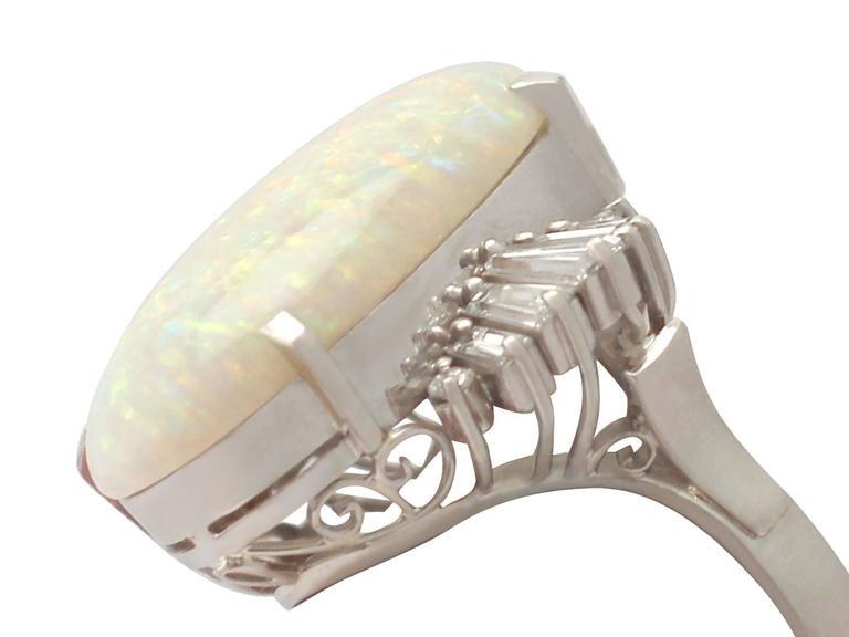 1960s 7.39 Carat Opal & Diamond Platinum Cocktail Ring 3