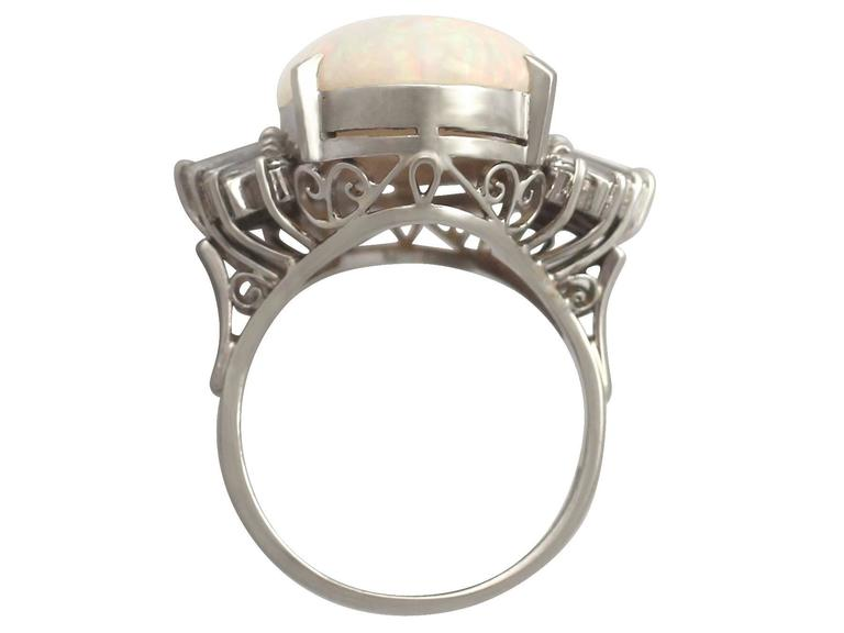 1960s 7.39 Carat Opal & Diamond Platinum Cocktail Ring 5