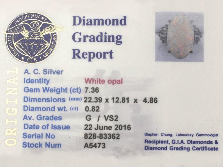 1960s 7.39 Carat Opal & Diamond Platinum Cocktail Ring 6