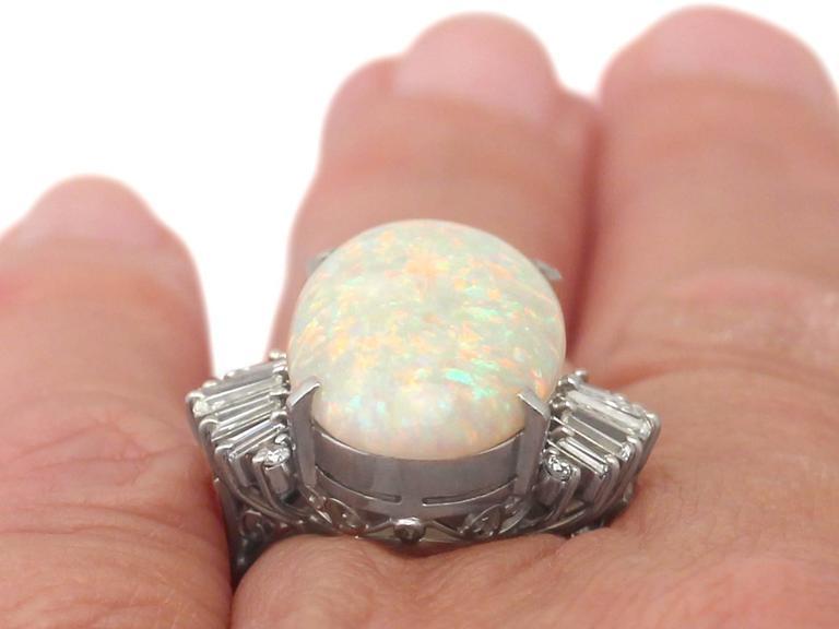1960s 7.39 Carat Opal & Diamond Platinum Cocktail Ring 9