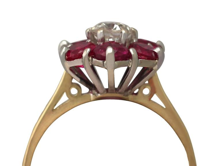 1.45Ct Ruby & 0.41Ct Diamond, 18k Yellow Gold Dress Ring - Antique & Vintage 2