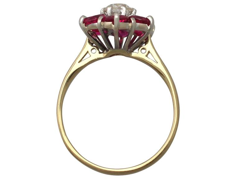 1.45Ct Ruby & 0.41Ct Diamond, 18k Yellow Gold Dress Ring - Antique & Vintage 5