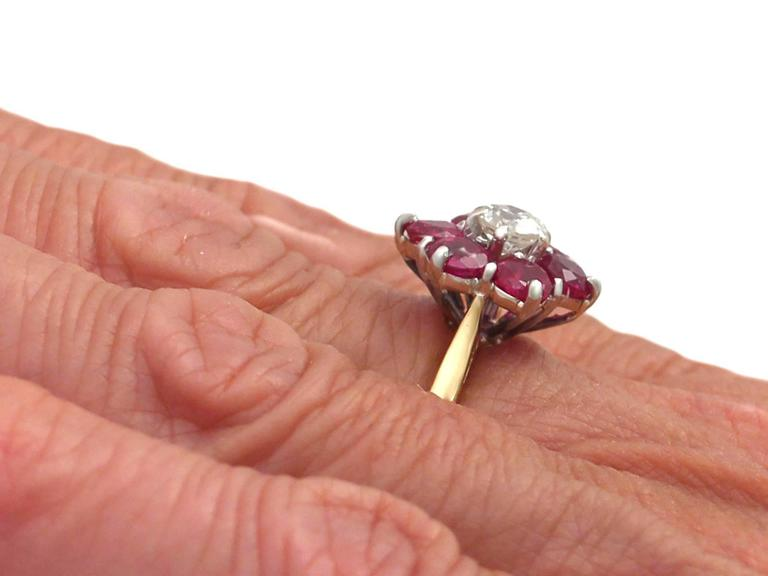 1.45Ct Ruby & 0.41Ct Diamond, 18k Yellow Gold Dress Ring - Antique & Vintage 8