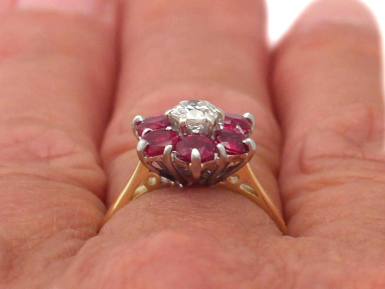 1.45Ct Ruby & 0.41Ct Diamond, 18k Yellow Gold Dress Ring - Antique & Vintage 9