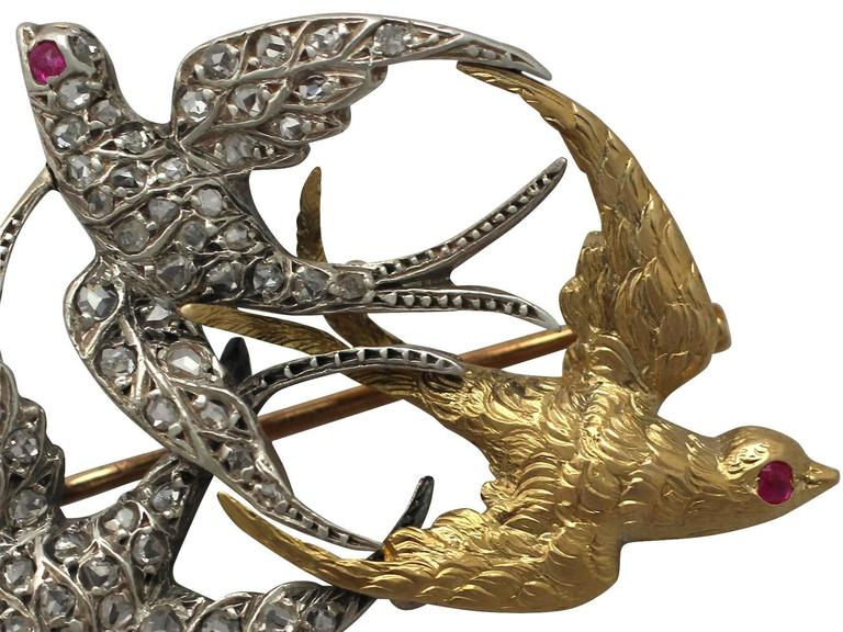 Victorian 0.55 Carat Diamond, 18k White Gold and 18k Yellow Gold Swallow Brooch 3