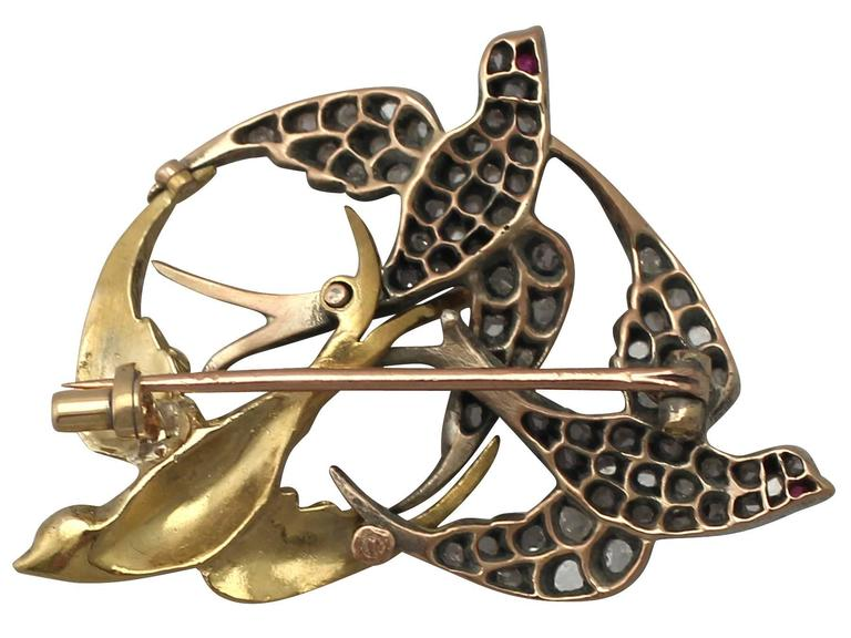 Victorian 0.55 Carat Diamond, 18k White Gold and 18k Yellow Gold Swallow Brooch 6