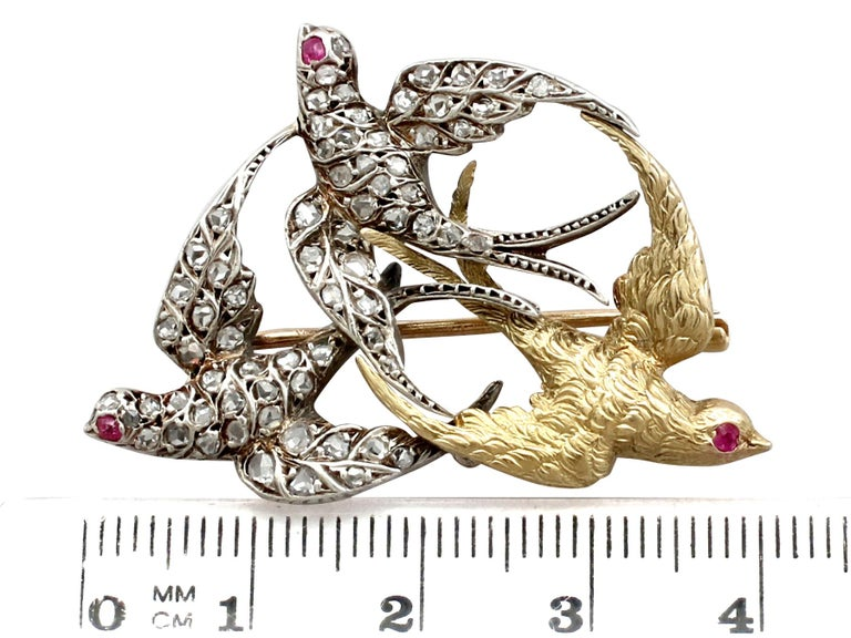 Victorian Diamond and Yellow Gold Silver Set Swallow Brooch  For Sale 3
