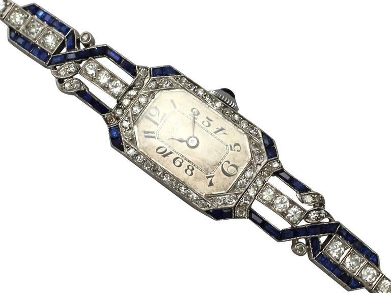 Art Deco Ladies Platinum 3 43 Carats Diamonds Sapphire
