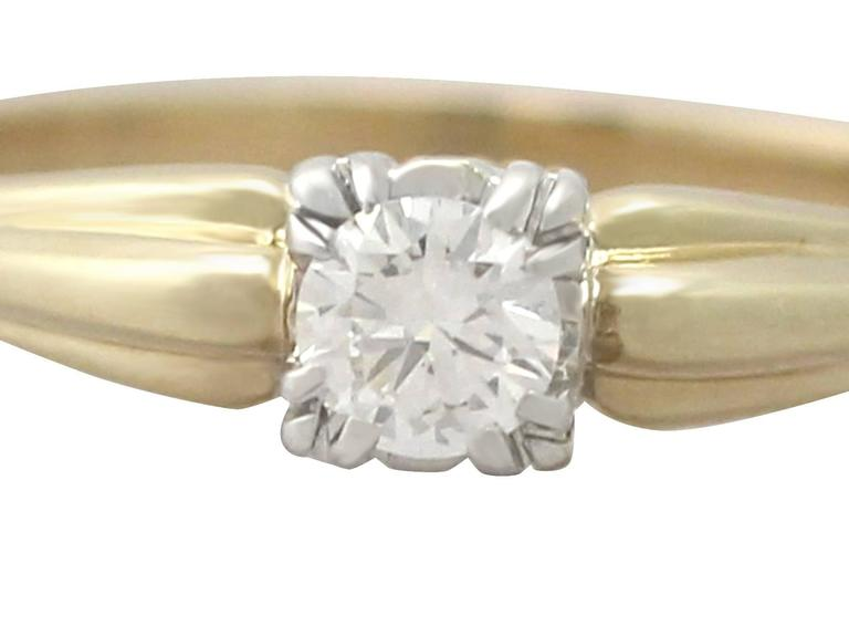 Women's 0.28Ct Diamond and 14k Yellow Gold Solitaire Ring - Vintage Circa 1990 For Sale