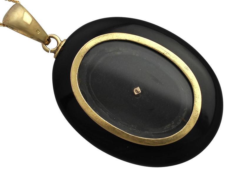 0.49Ct Diamond and Onyx, 14k Yellow Gold Pendant/Locket - Antique Victorian 5