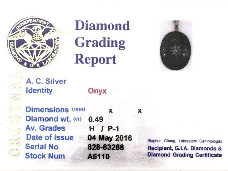 0.49Ct Diamond and Onyx, 14k Yellow Gold Pendant/Locket - Antique Victorian 7