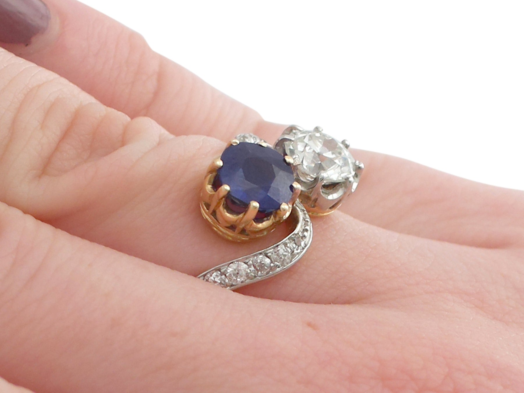 1910s French 1.55 Ct Sapphire and 1.34 Ct Diamond Yellow Gold Twist ...