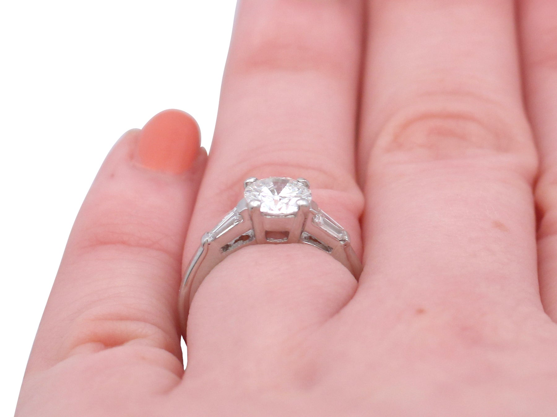 1950s 1.32 Ct Diamond and Platinum Solitaire Ring For Sale at 1stdibs