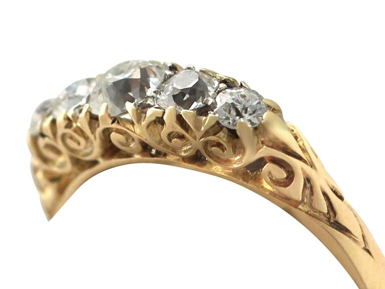 Antique 1900s 0.72 Carat Diamond, 18k Yellow Gold, Five Stone Ring 3