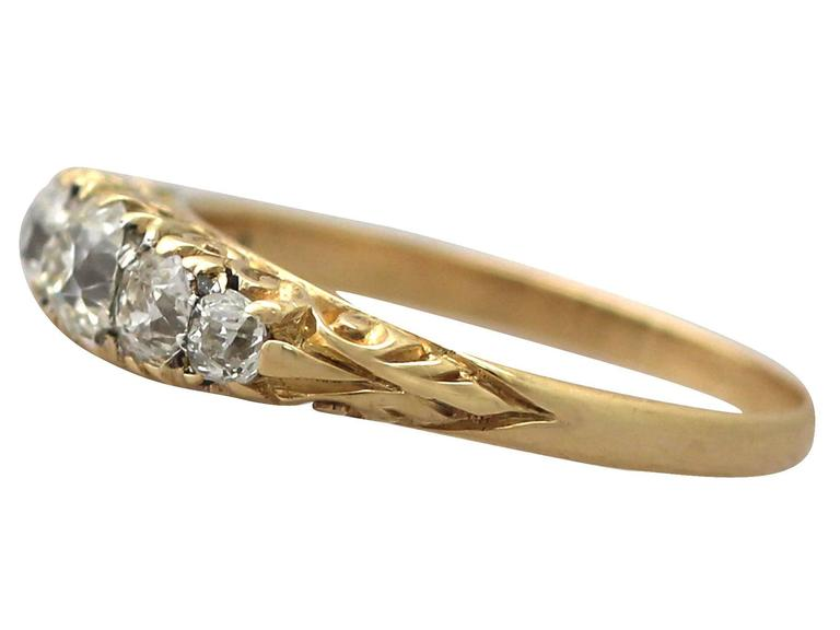 Antique 1900s 0.72 Carat Diamond, 18k Yellow Gold, Five Stone Ring 4