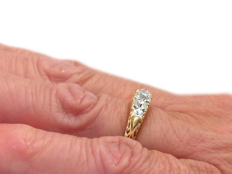 Antique 1900s 0.72 Carat Diamond, 18k Yellow Gold, Five Stone Ring 7
