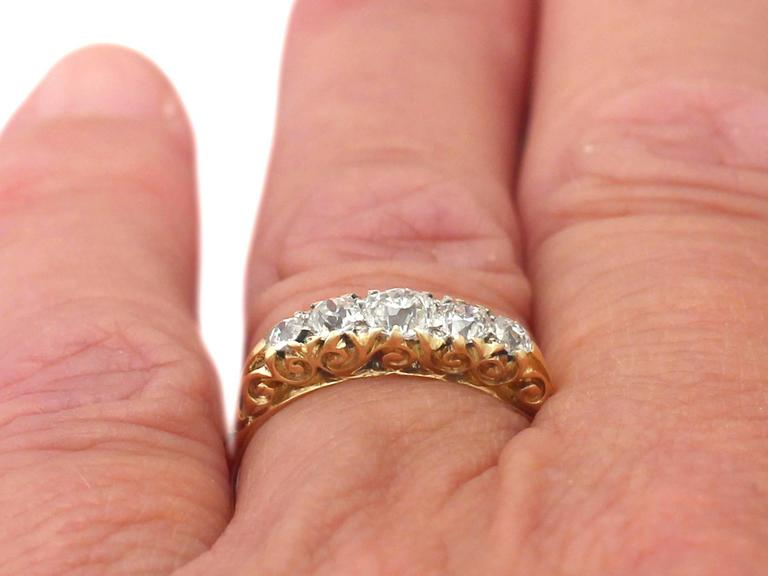 Antique 1900s 0.72 Carat Diamond, 18k Yellow Gold, Five Stone Ring 8