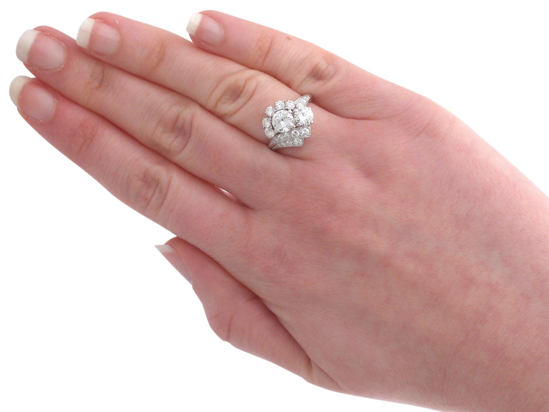 1950s 2.67 Carat Diamond Platinum Cluster Ring at 1stdibs