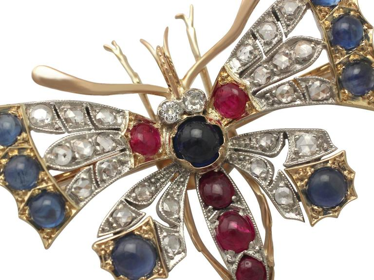 Diamond and Sapphire, Ruby and 18k Yellow Gold Butterfly Brooch In Excellent Condition For Sale In Jesmond, GB