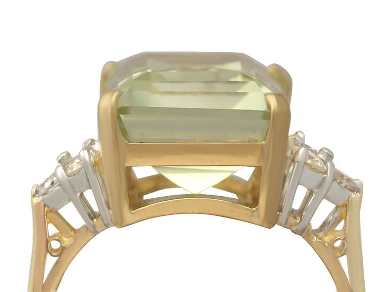 7.84 Carat Citrine and Diamond Yellow Gold Cocktail Ring 2