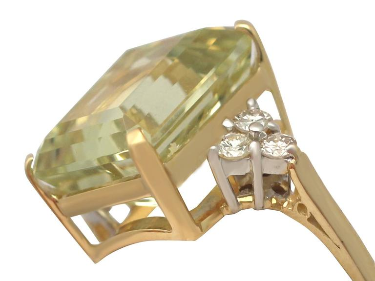 7.84 Carat Citrine and Diamond Yellow Gold Cocktail Ring 3