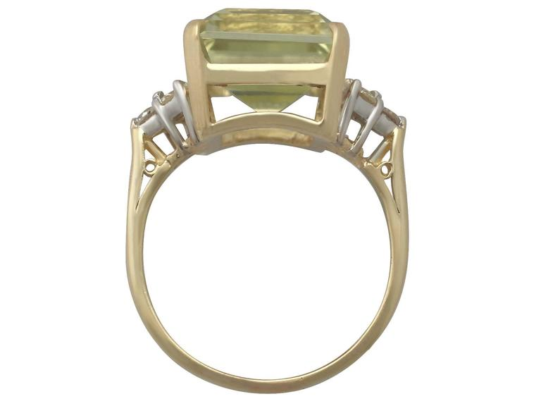 7.84 Carat Citrine and Diamond Yellow Gold Cocktail Ring 5