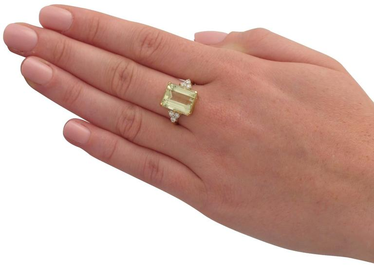 7.84 Carat Citrine and Diamond Yellow Gold Cocktail Ring 7