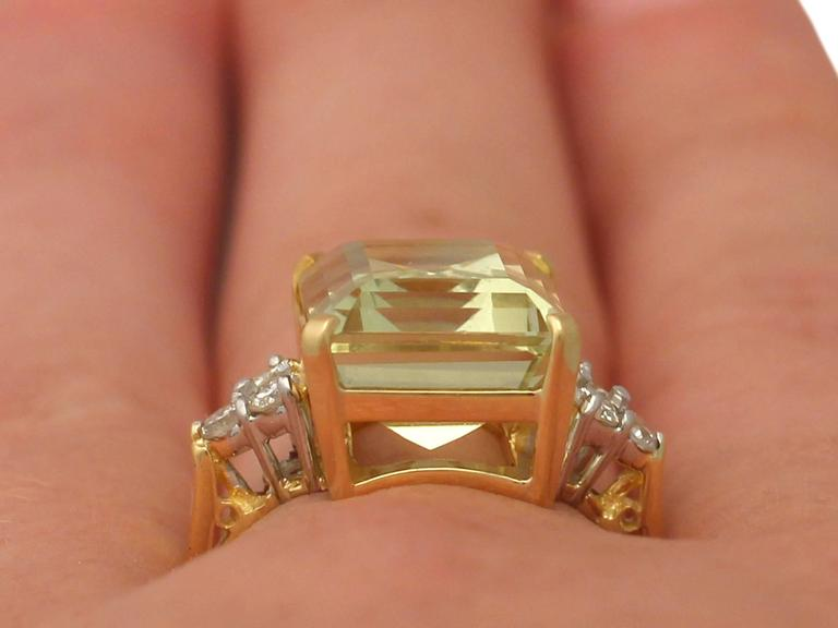 7.84 Carat Citrine and Diamond Yellow Gold Cocktail Ring 9