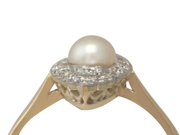 1920s Antique Pearl and Diamond Yellow Gold Cocktail Ring  2