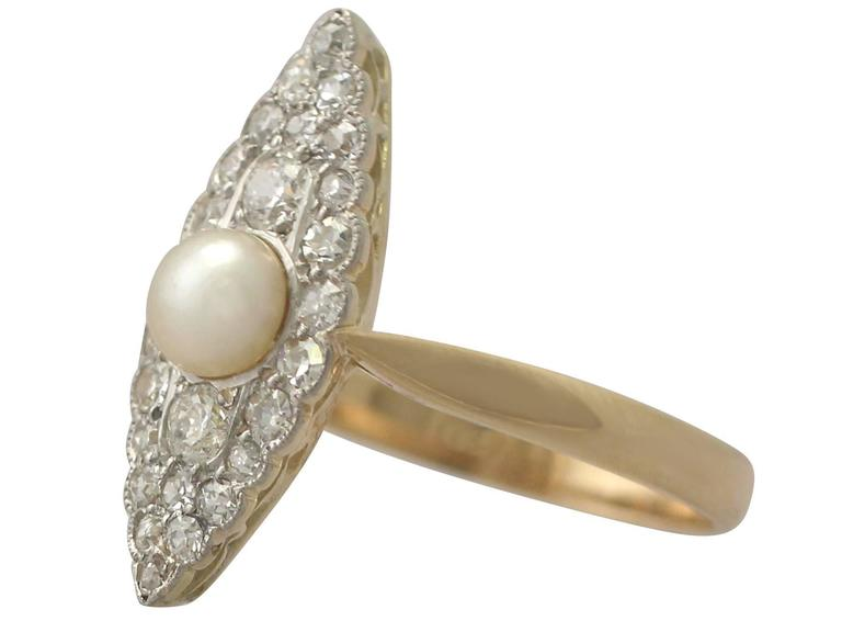 1920s Antique Pearl and Diamond Yellow Gold Cocktail Ring  4