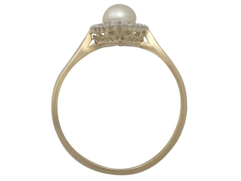 1920s Antique Pearl and Diamond Yellow Gold Cocktail Ring  5