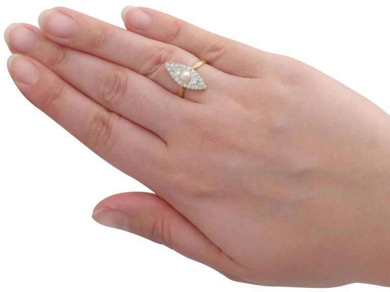 1920s Antique Pearl and Diamond Yellow Gold Cocktail Ring  7