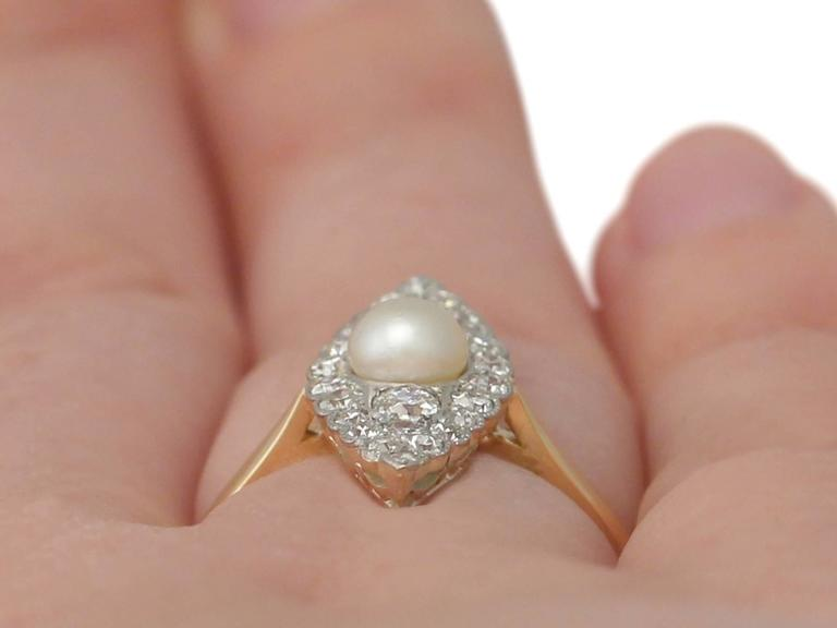 1920s Antique Pearl and Diamond Yellow Gold Cocktail Ring  9