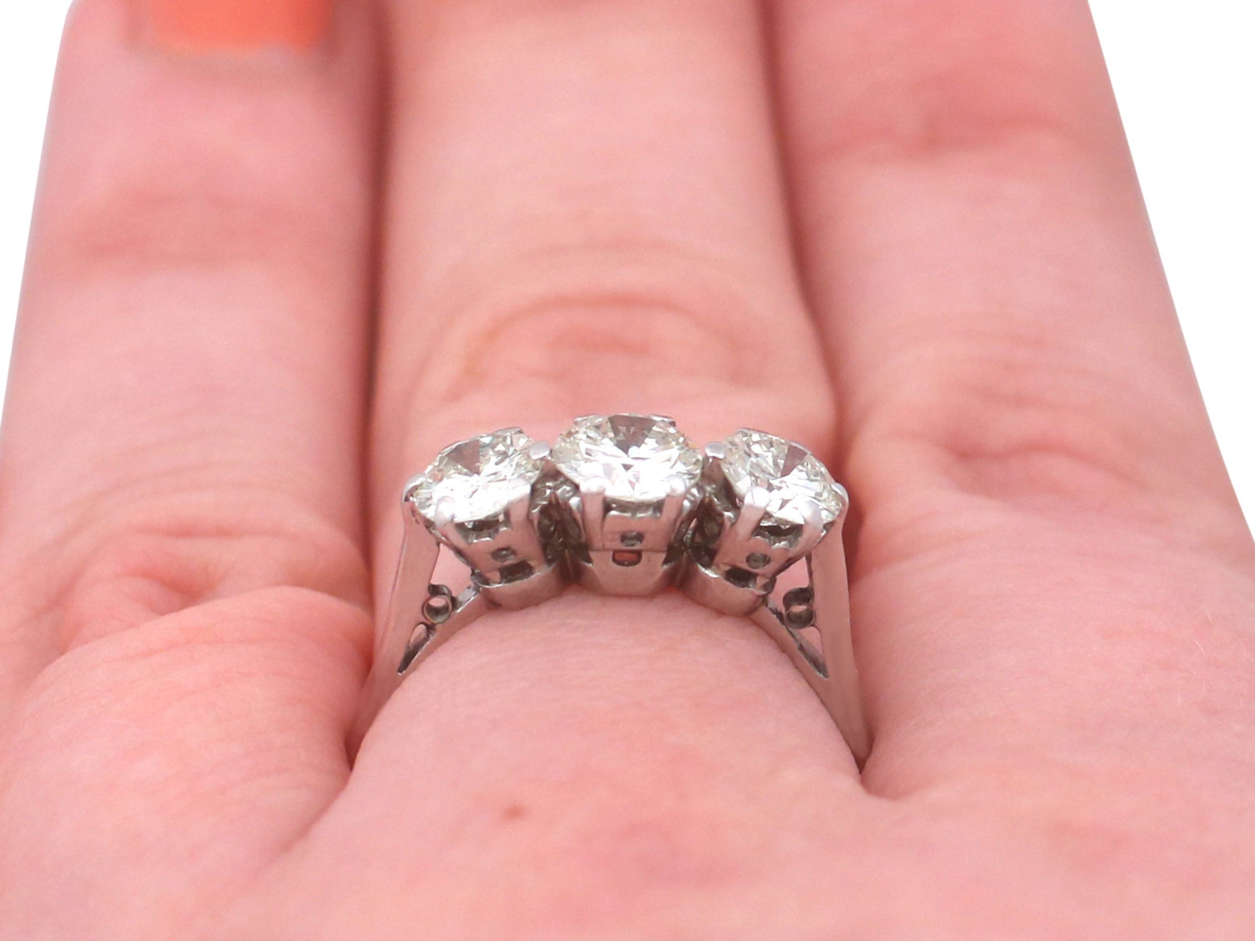 1940s 1.93 Carat Diamond and White Gold Trilogy Ring For Sale at 1stdibs