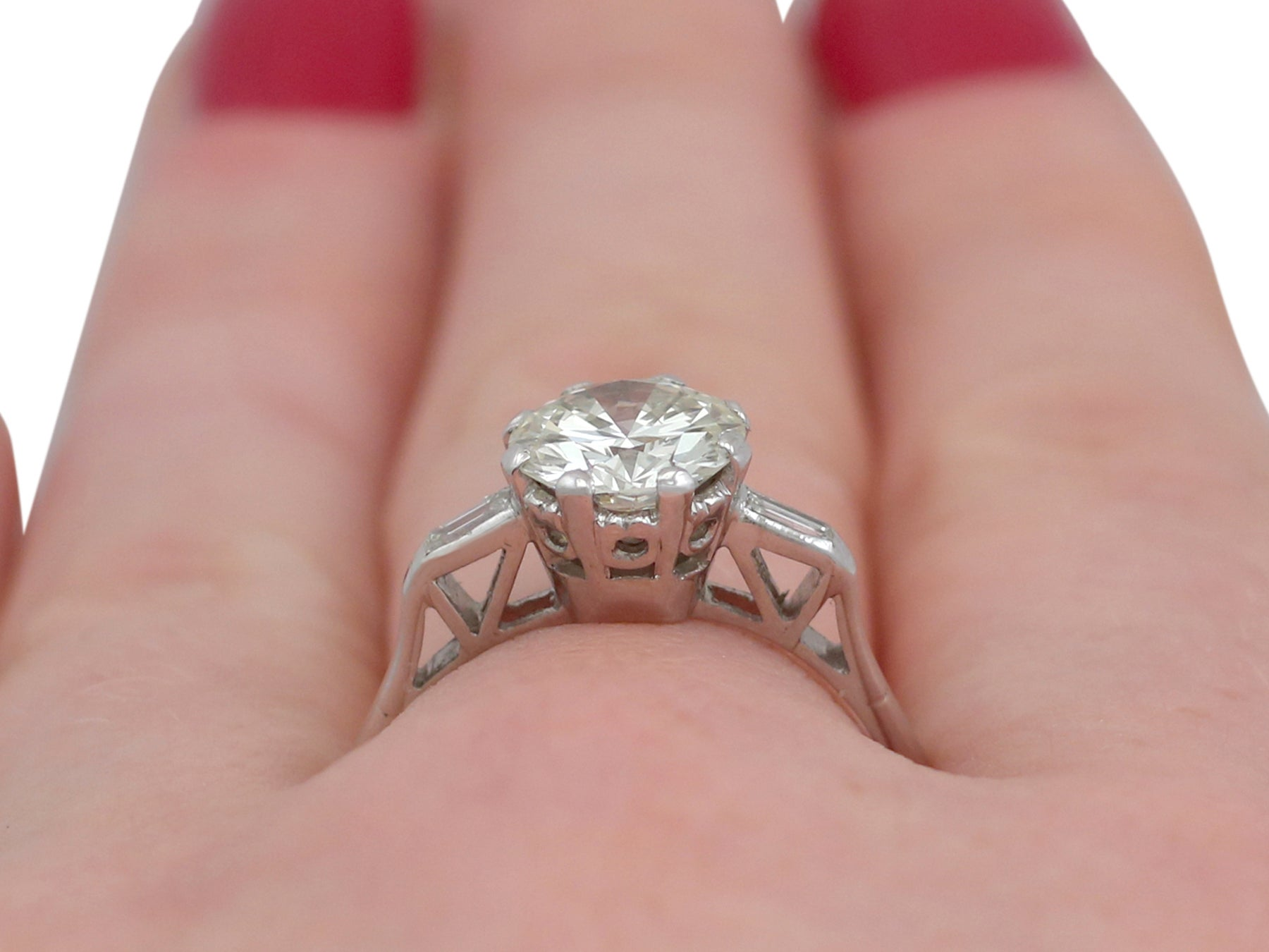 1950s 1.92 Carat Diamond and White Gold Solitaire Ring at 1stdibs