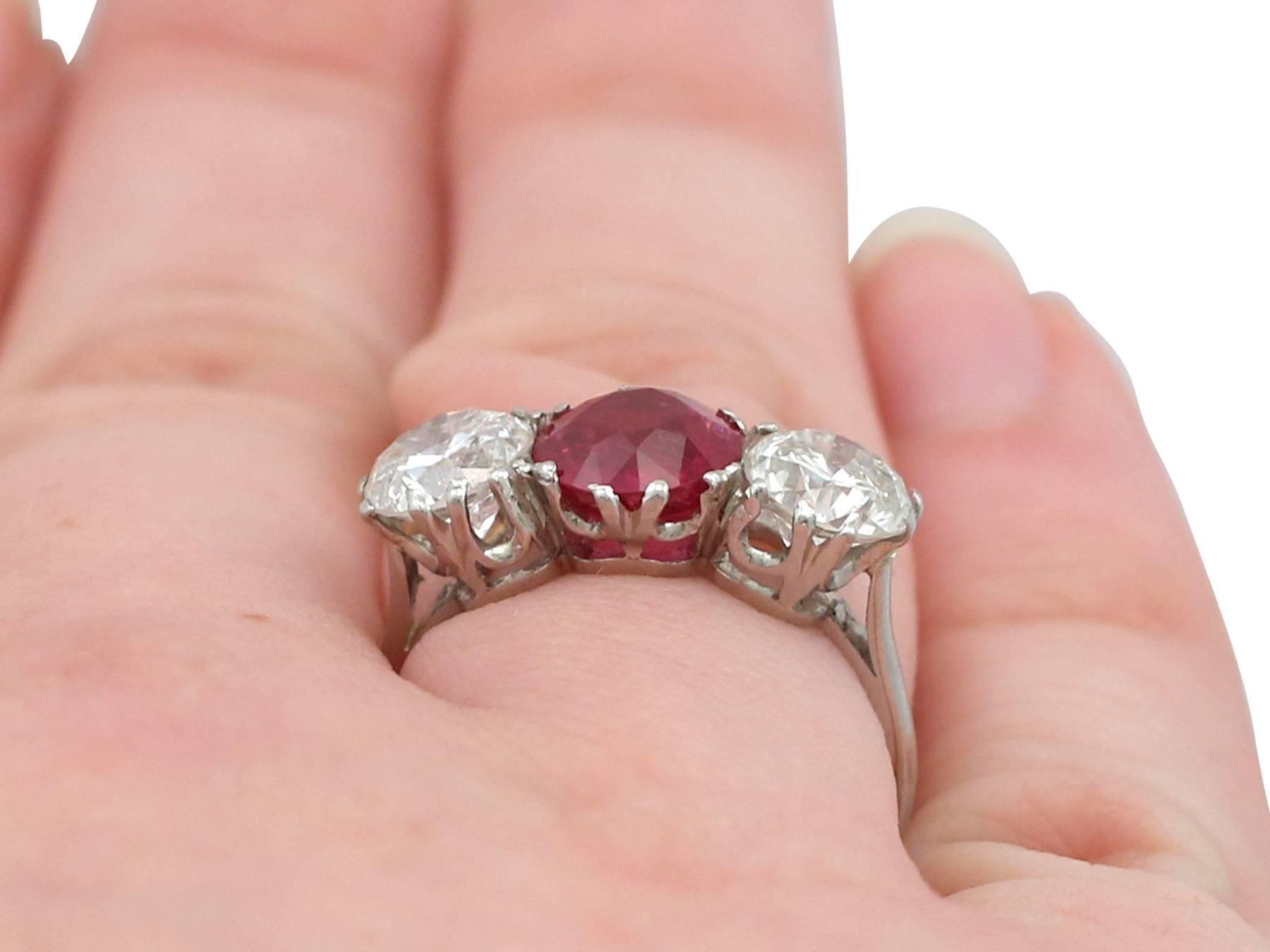 1940s 2.21 Carat Ruby and 2.06 Carat Diamond Platinum Trilogy Ring ...