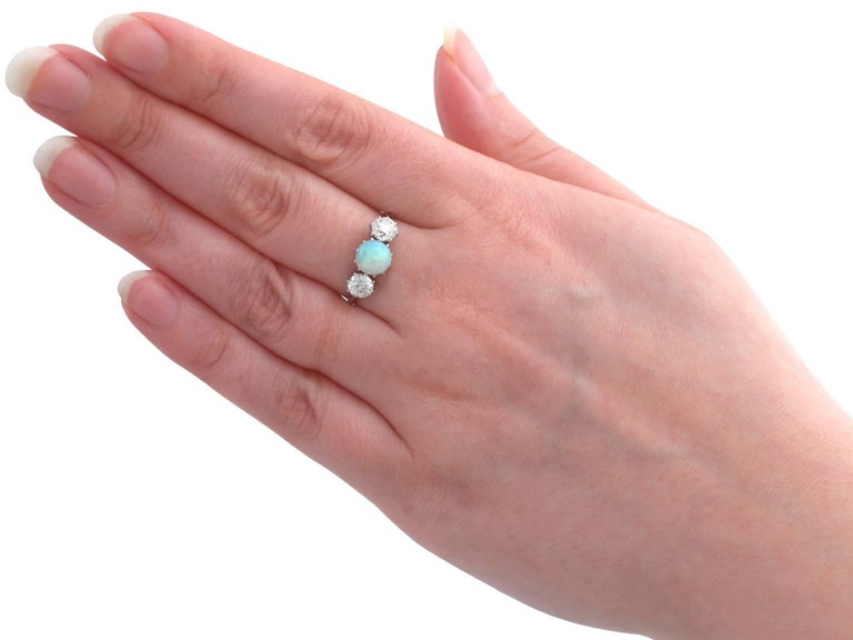 Antique Opal and 1.08 Carat Diamond Gold Trilogy Ring For Sale 2