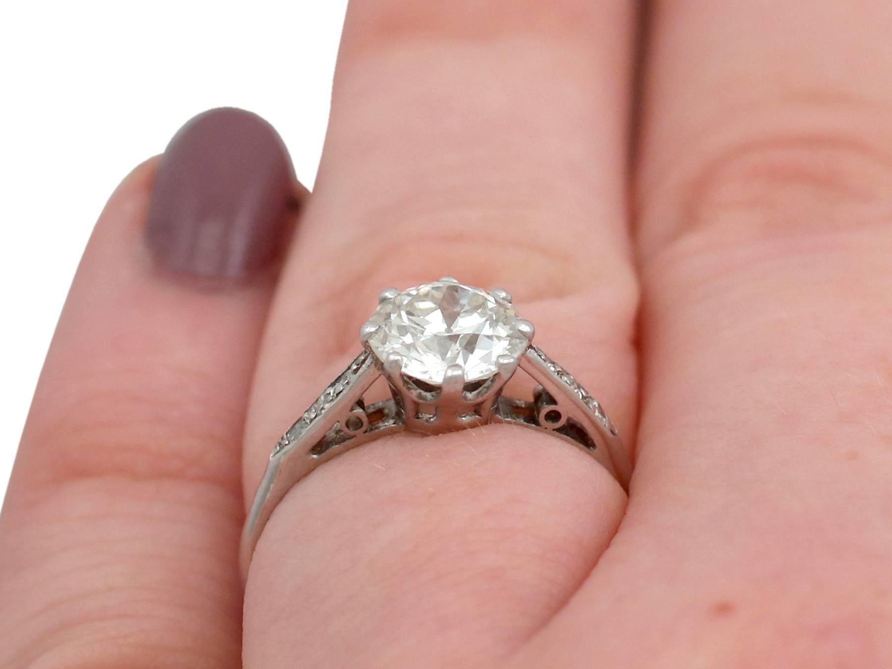 1940s 1.42 Carat Diamond Platinum Solitaire Ring For Sale at 1stdibs